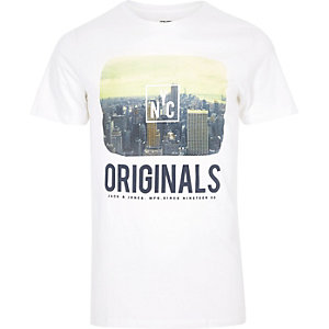 White Jack & Jones slogan print T-shirt