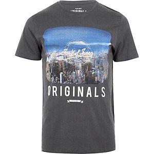 Jack & Jones – Graues T-Shirt mit Vintage-Print