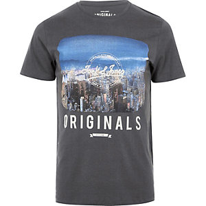 Grey Jack & Jones Vintage print T-shirt
