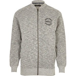 Grey marl Jack & Jones zip up bomber jacket