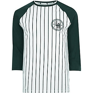 White pinstripe raglan long sleeve T-shirt