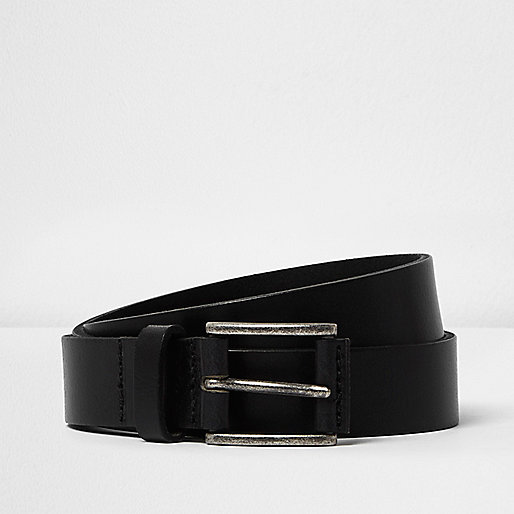Black cracked leather belt