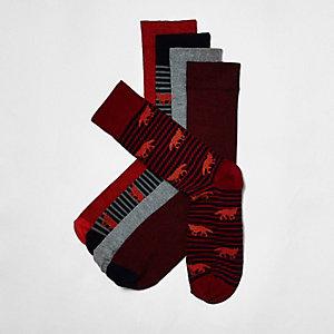 Rot gestreifte Socken mit Fuchsmotiv im Multipack