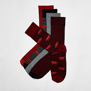 Red stripe fox socks pack