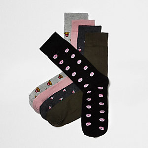 Grey food print socks pack
