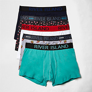 Green kitsch food print trunks pack