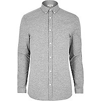 Grey marl casual muscle fit shirt