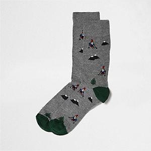 Chaussettes imprimé gnome de Noël grises