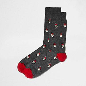 Chaussettes gris foncé chiné motif Père Noël