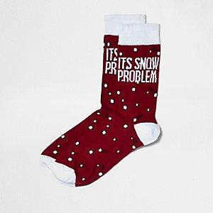 Chaussettes rouges imprimé slogan de Noël