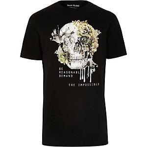 T-shirt long noir imprimé crâne