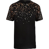 Black splatter shoulder print T-shirt