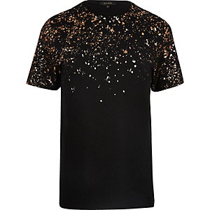 Black splatter shoulder print T-shirt