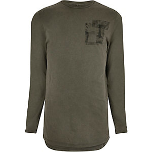 Dark green Saint print longline T-shirt