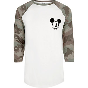 White Mickey Mouse camo raglan T-shirt