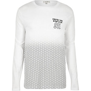 White geo fade long sleeve T-shirt