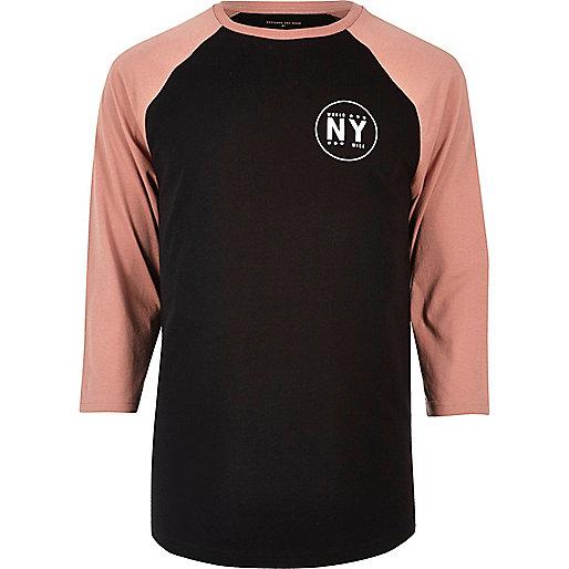 T-shirt imprimé NY noir à manches longues raglan