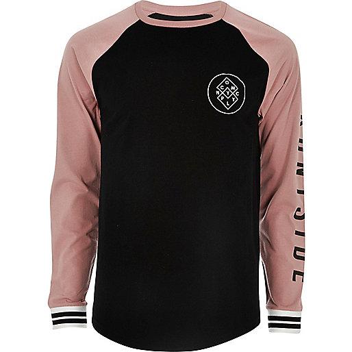 Black print raglan long sleeve t shirt print t shirts for Custom printed long sleeve t shirts