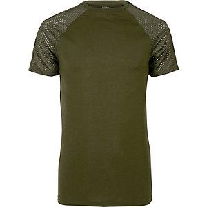 Dark green mesh raglan sleeve T-shirt