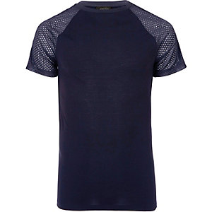 Navy mesh raglan sleeve T-shirt