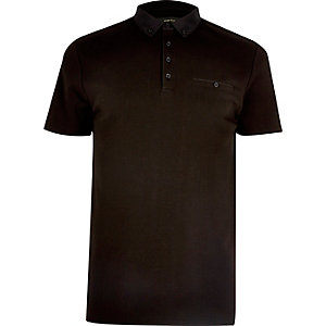 Black chest pocket polo shirt