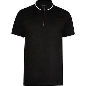 Polo noir avec patte de boutonnage zippée