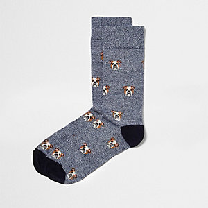 Navy bulldog print socks