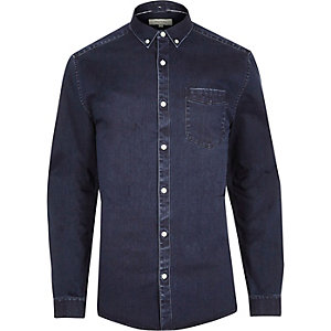Indigo blue muscle fit denim shirt