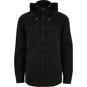 Black hooded denim shirt