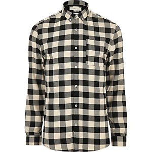 Cream casual check muscle fit shirt
