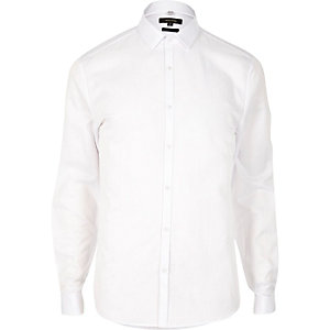 White smart double cuff slim fit shirt