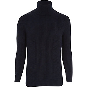 Navy smart textured roll neck sweater