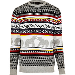 Grey polar bear Christmas sweater