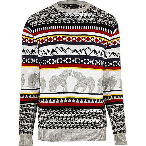 Weihnachtspullover mit Bären- und Fairisle-Design