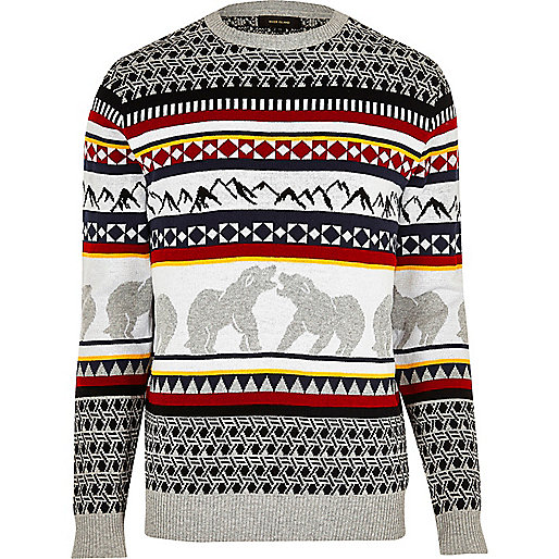 Pull de Noël motif ours blanc gris