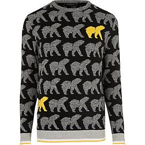 Pull noir motif ours de Noël jaune