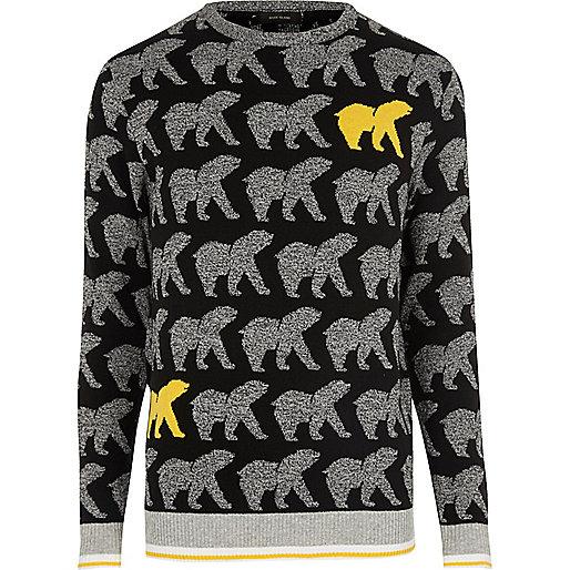 Pull de Noël noir motif ours jaune