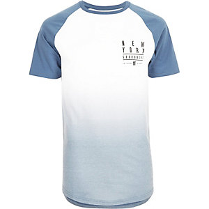 Blue faded print raglan T-shirt