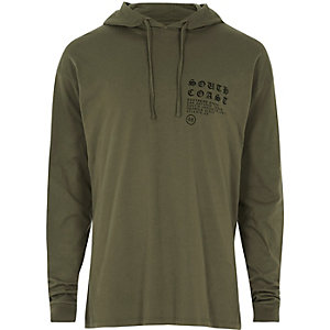 Khaki green logo light hoodie