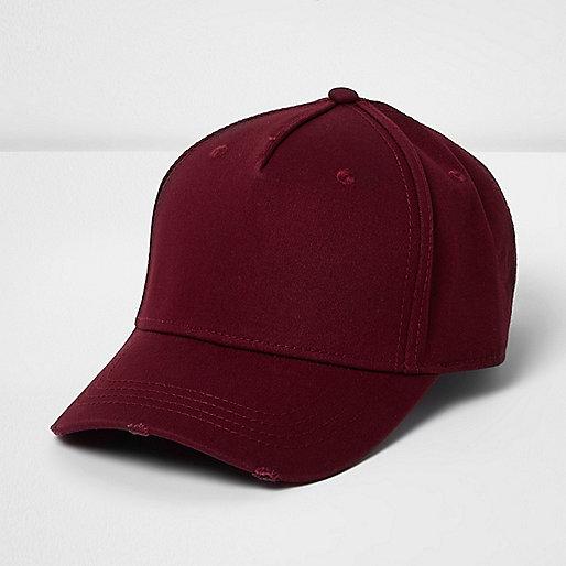 Burgundy distressed baseball cap