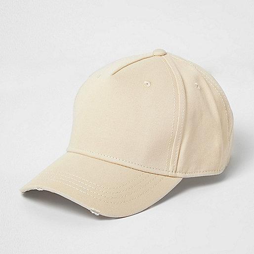 Baseball-Kappe in Ecru im Used-Look
