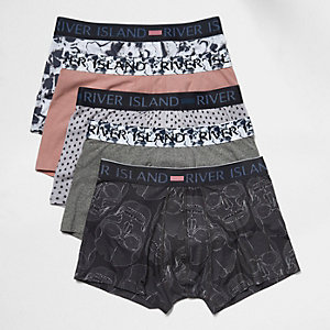 Black skeleton print hipster boxers pack