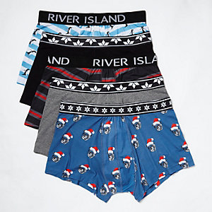 Blue Christmas print trunks pack