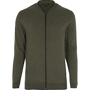 Green cardigan bomber jacket