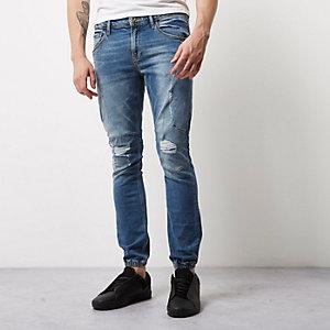 Mid blue wash jean joggers