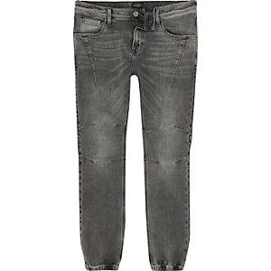 Grey wash jean joggers