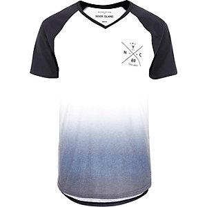 White faded NYC print raglan T-shirt