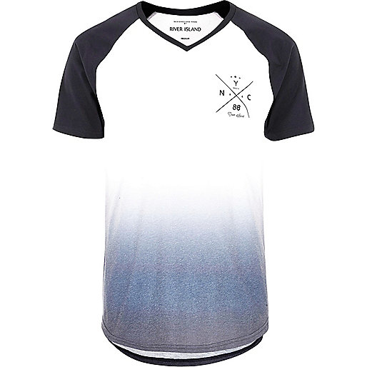 Weißes Raglan-T-Shirt mit NYC-Print