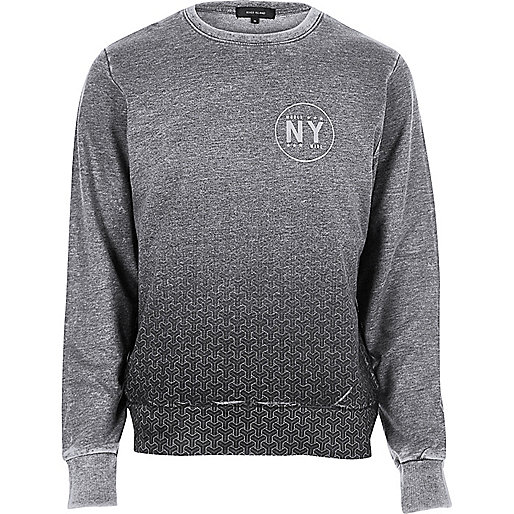 Grey faded print sweatshirt