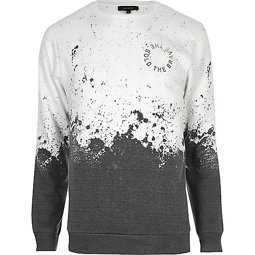 White faded splatter print sweatshirt